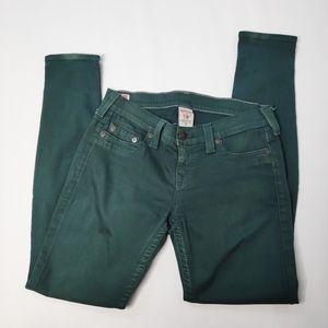 True Religion Green Casey Skinny Jean Size 28